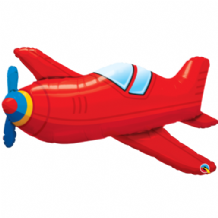 Red Vintage Airplane Large Foil Balloon 1pc
